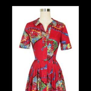 Trashy Diva Red Fans Virgina Shirtwaist Dress